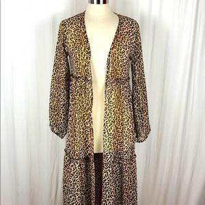 Turquoise Haven Long Sheer Leopard Duster